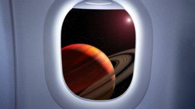 El acercamiento a Saturno — Vídeo de Stock