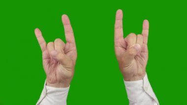 Hand sign ROCK AND ROLL. Two in one. Alpha channel is included — Stock Video