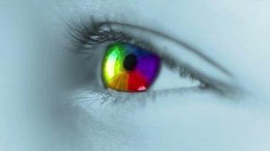 Arco-íris no olho humano — Vídeo stock