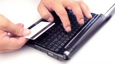 Buting with credit card from web — 图库视频影像