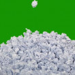 Rumpled papers over green background — Stock Video