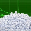 Pile of rumpled paper sheets over green business chart background — Stock Video