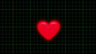 Cardiogramme met pulserende rode hart — Stockvideo