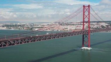 25th of April Bridge. Timelapse — Stock Video
