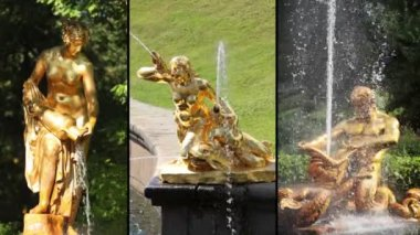 Fountains of Peterhof. HD MONTAGE — Stock Video
