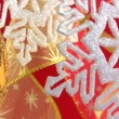 Christmas snowflake on a festive background — 图库视频影像