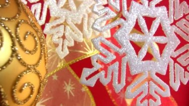 Christmas snowflake on a festive background — Stock Video