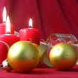 Red candles and gold balls — Stock Video