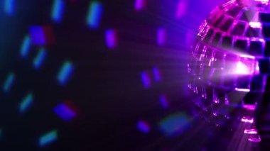 Colored dark background and disco ball — Stock Video