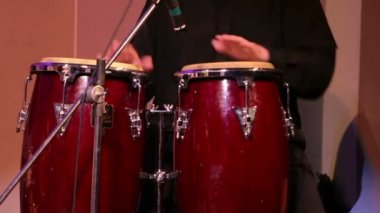 Musician Plays Percussions — Stock Video