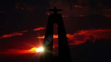 Cristo Rei and Sunrise. Timelapse — Stock Video