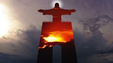 Cristo Rei and Sky. Timelapse — Stock Video