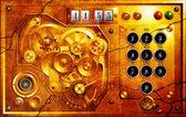 Vijf tot en met 12 steampunk uhr grunge — Stockfoto