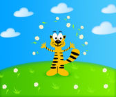 Illustration of summer background with a funny cartoon tiger cub — Stock Photo