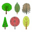 Stock Photo: Illustration of colorful trees in set