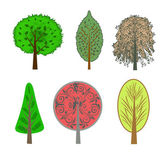 Illustration of colorful trees in the set — Stock Photo