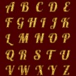 Golden alphabet with rubies. — Stock Photo