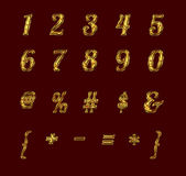 Gold numbers and signs with rubies. — Stok fotoğraf