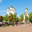 Two orthodox cathedral in Victory square. Kaliningrad (until 1946 Konigsberg), Russia — Stockfoto