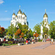 Two orthodox cathedral in Victory square. Kaliningrad (until 1946 Konigsberg), Russia — Stock Photo