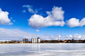 "Beautiful winter landscape at the lake ""Verhnee"". Kaliningrad (until 1946 Koenigsberg), Russia — Stock Photo"