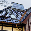 Solar collector on the roof of a house — Stock Photo