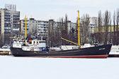 """Average fishing trawler """"CRT-129"""", bound with ice — Stock Photo"""
