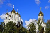 Glow Golden crosses. Cathedral of Christ the Savior, Kaliningrad (until 1946 Koenigsberg), Russia — Stock Photo