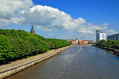Koenigsberg Cathedral and Fishing Village - the main sights of Kaliningrad (until 1946 Koenigsberg), Russia — Stock Photo