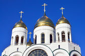 Domes of Russian Orthodox Church. Cathedral of Christ the Savior, Kaliningrad, Russia — Stock Photo