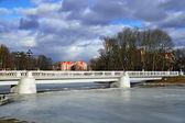 White Bridge On The Verhnee Lake (formerly Oberteich). Kaliningrad (until 1946 Koenigsberg), Russia — Stock Photo