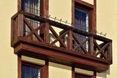Wooden French balcony — Stock Photo