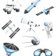Space technology icons — Stock Vector
