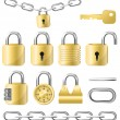 Golden lock and chain icon kit — Stock Vector #27198789