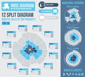 Rose diagram infographic builder — Stock Vector