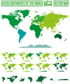 Mapas de los continentes del mundo — Vector de stock