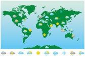 Iconos y mapa meteorológico mundial — Vector de stock