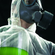 Carrying chemical waste — Stock Photo