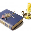 Candlestick Old Book and Glasses Isolated on Withe. — Stock Photo