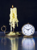 Candlestick, and Old Watch. — Stock Photo