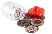 Glass Jar whit Big Buttons Isolated on White — Stock Photo