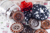 Glass Jar, Neddle Case and Buttons on Fabric — Stock Photo