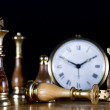 Chessmen with Old Watch — Stock Photo