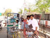 Indian rickshaw pullers — Stock Photo