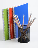 Notebooks and pens — Stock Photo