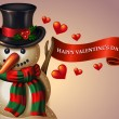 Valentine's Day snowman — Stockvectorbeeld