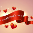 Valentine's Day scroll greeting banner — Image vectorielle