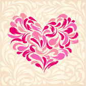 Flourish light background with heart — Stock Vector