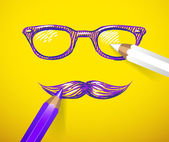 Eyeglasses and mustache — Vector de stock