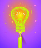 Lightbulb drawn with pencil — Stock Vector